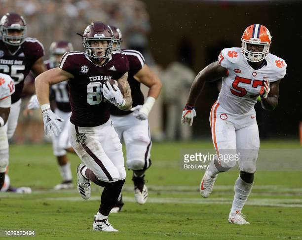 Jace Sternberger of the Texas AM Aggies runs with the ball after a reception in the first quarter against the Clemson Tigers at Kyle Field on...