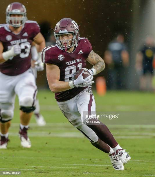 Jace Sternberger of the Texas AM Aggies runs with the ball after a reception against the Clemson Tigers at Kyle Field on September 8 2018 in College...