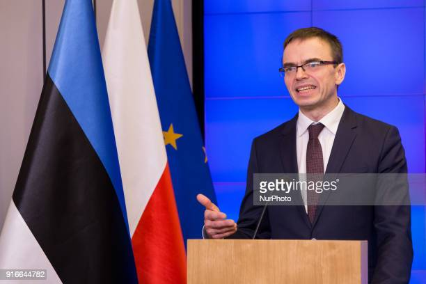 Jacek Czaputowicz and Sven Mikser during the meeting of Polish and Estonian Ministers of Foreign Affairs in Warsaw Poland on 9 February 2018