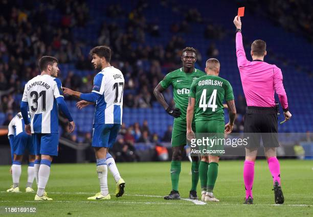 Jacek Goralski of Ludogorets is shown a red card following a second yellow during the UEFA Europa League group H match between Espanyol Barcelona and...