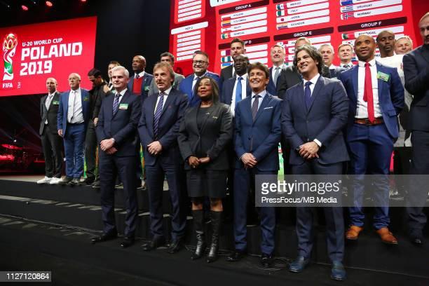 Jacek Magiera Zbigniew Boniek Fatma Samoura Bebeto and Fernando Couto at the draw for the FIFA U20 World Cup Poland 2019 on February 24 2019 in...