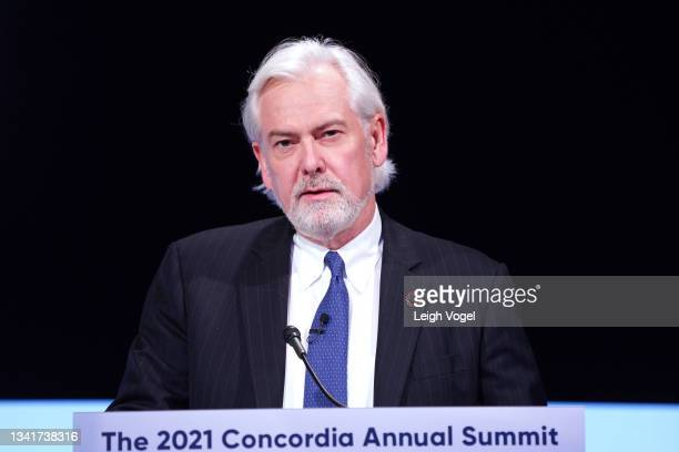 Jacek Olczak, CEO, Philip Morris International, speaks onstage during the 2021 Concordia Annual Summit - Day 2 at Sheraton New York on September 21,...