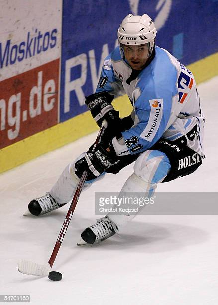 Jacek Plachta of the Freezers leads the puck during the Ice Hockey German Cup match between ESC Moskitos Essen and Hamburg Freezers on September 4...