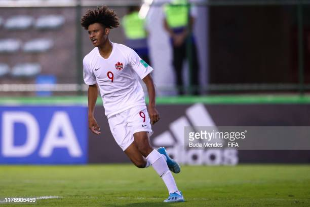Jacen RussellRowe of Canada celebrates a scored goal during the FIFA U17 Men's World Cup Brazil 2019 group A match between Angola and Canada at...