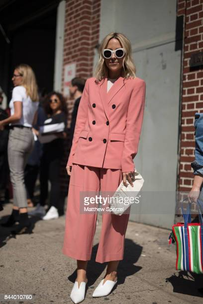 Jacey Duprie is seen attending Creatures of Comfort during New York Fashion Week wearing Tibi on September 7, 2017 in New York City.