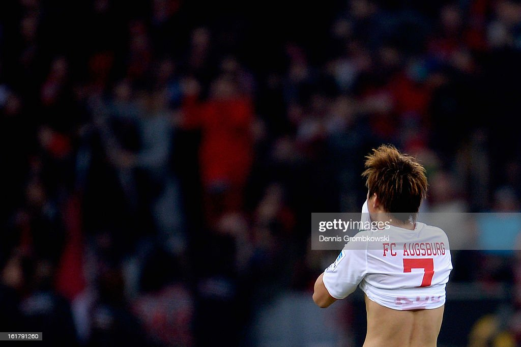Ja-Cheol Koo of Augsburg reacts after the Bundesliga match between Bayer 04 Leverkusen and FC Augsburg at BayArena on February 16, 2013 in Leverkusen, Germany.