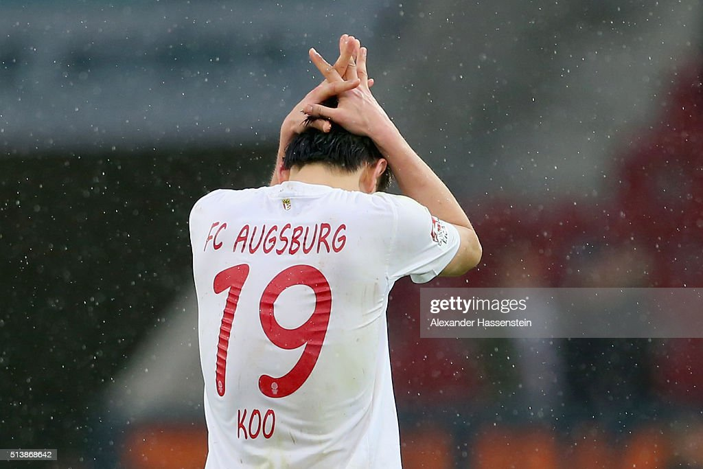 Ja-Cheol Koo of Augsburg reacts after the Bundesliga match between FC Augsburg and Bayer Leverkusen at WWK Arena on March 5, 2016 in Augsburg, Germany.