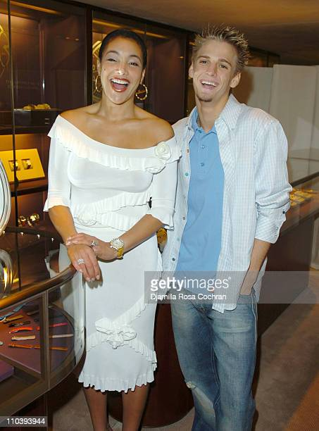 Jaci Wilson Reid and Aaron Carter during Jaci Wilson Reid and Morris Reid Host a Shopping Experience at Asprey to Benefit VH1 Save The Music Fund at...