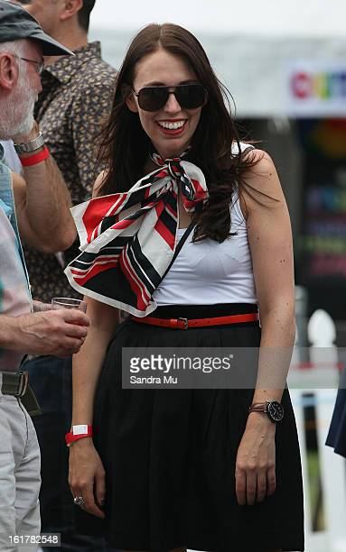 Jacinda Ardern Labour list MP is seen before the parade down Ponsonby Road during the Pride parade on February 16 2013 in Auckland New Zealand The...