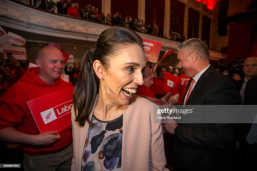 Jacinda Ardern, Leader of the Labour Party & MP for Mt Albert greets supporters as she leaves the party's election campaign launch on August 20, 2017 in Auckland, New Zealand. The New Zealand general election will be held on September 23, 2017.