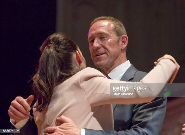 Jacinda Ardern Leader of the Labour Party MP for Mt Albert greets Andrew Little Labour List MP at the party's campaign launch on August 20 2017 in...