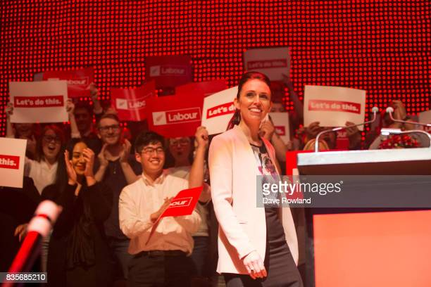 Jacinda Ardern Leader of the Labour Party MP for Mt Albert makes her speech at the party campaign launch on August 20 2017 in Auckland New Zealand...