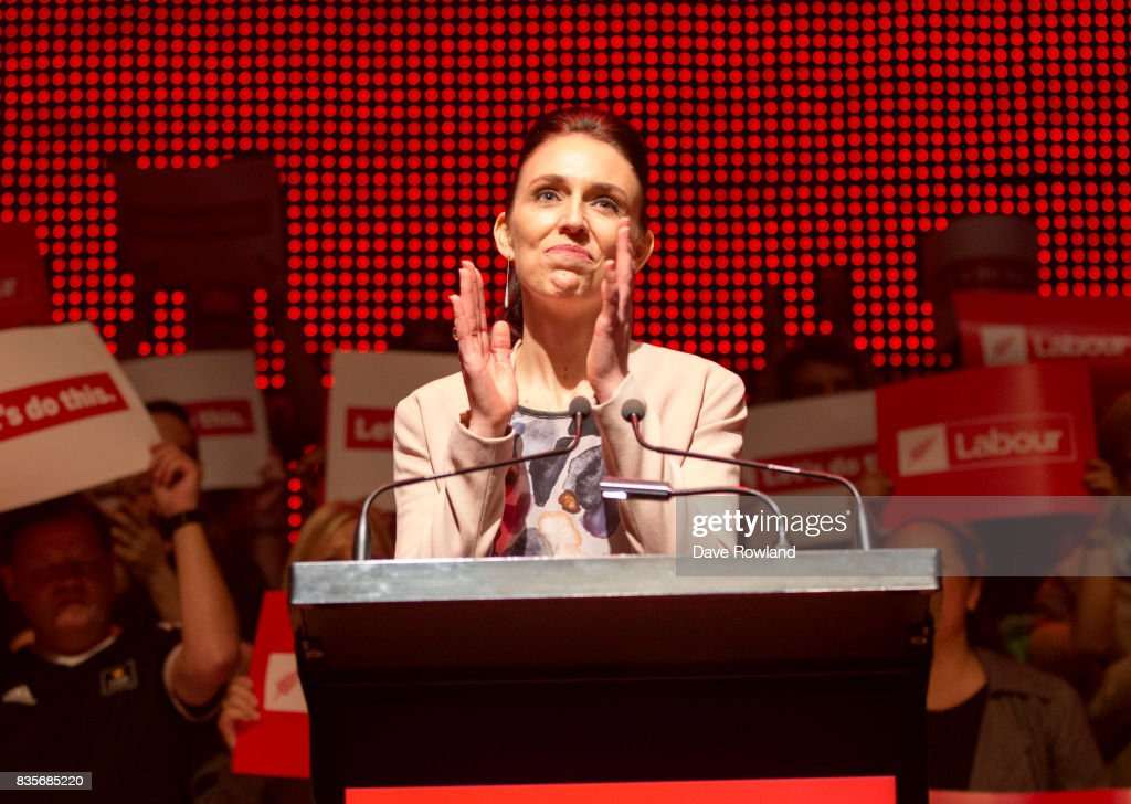 Jacinda Ardern, Leader of the Labour Party & MP for Mt Albert makes her speech at the party campaign launch on August 20, 2017 in Auckland, New Zealand. The New Zealand general election will be held on September 23, 2017. (Photo by Dave Rowland/Getty Images)a