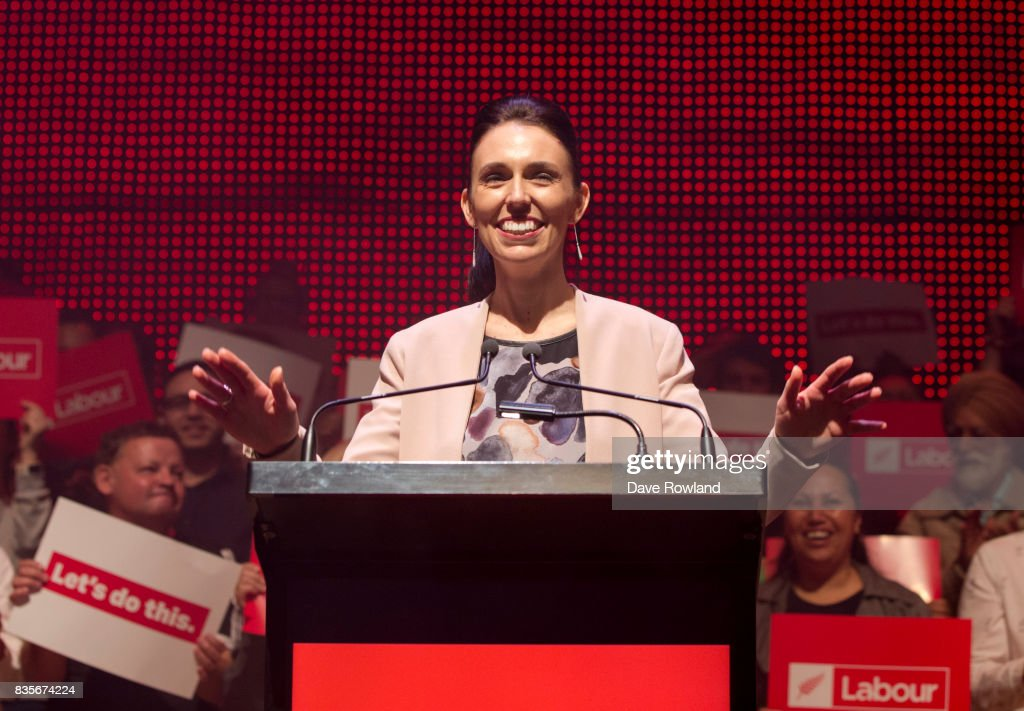 Jacinda Ardern, Leader of the Labour Party & MP for Mt Albert speaks at the party's election campaign launch on August 20, 2017 in Auckland, New Zealand. The New Zealand general election will be held on September 23, 2017.