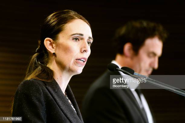 Jacinda Ardern, New Zealand's prime minister, speaks during a news conference in Wellington, New Zealand, on Thursday, March 21, 2019. New Zealand...