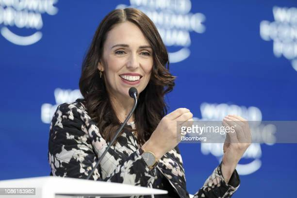 Jacinda Ardern New Zealand's prime minster gestures as she speaks during a panel session on the opening day of the World Economic Forum in Davos...