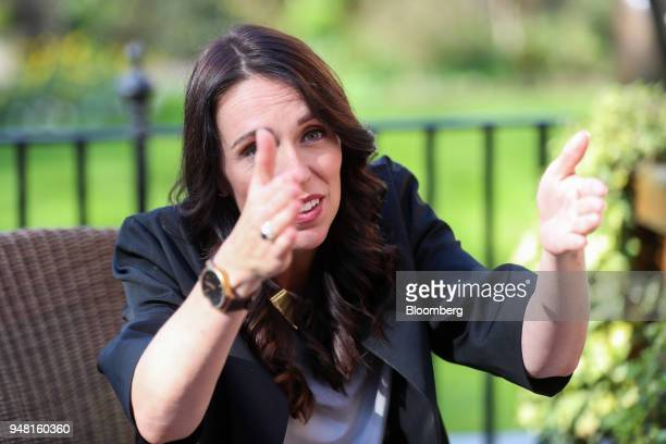 Jacinda Ardern New Zealand's prime minster gestures during a bilateral meeting with Theresa May UK prime minister in the gardens of number 10 Downing...