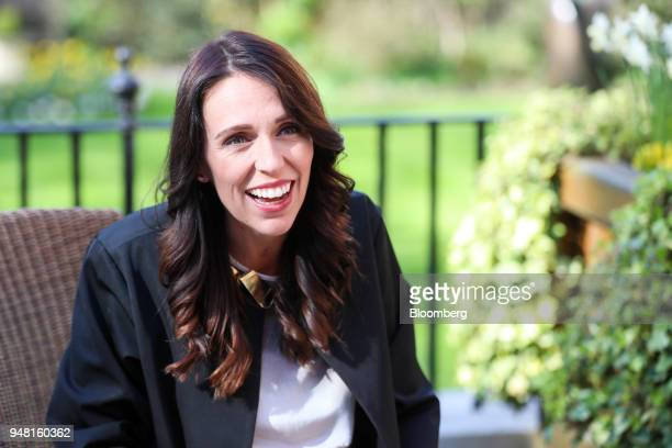 Jacinda Ardern New Zealand's prime minster reacts during a bilateral meeting with Theresa May UK prime minister in the gardens of number 10 Downing...