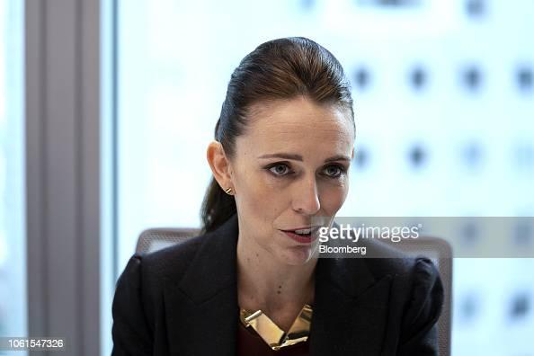 Jacinda Ardern Detail: Jacinda Ardern, New Zealand's Prime Minster, Speaks During