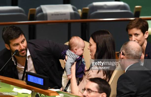 Jacinda Ardern Prime Minister and Minister for Arts Culture and Heritage and National Security and Intelligence of New Zealand holds her daughter...