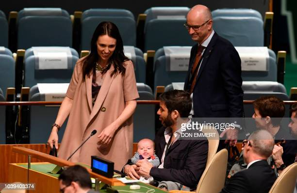 Jacinda Ardern Prime Minister and Minister for Arts Culture and Heritage and National Security and Intelligence of New Zealand looks on at her...