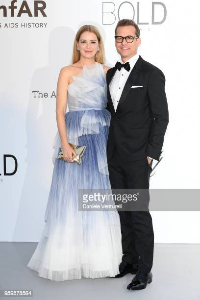 Jacinda Barrett and Gabriel Macht arrive at the amfAR Gala Cannes 2018 at Hotel du CapEdenRoc on May 17 2018 in Cap d'Antibes France