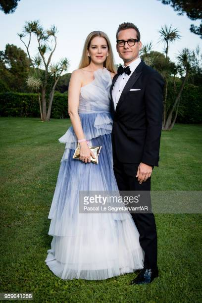 Jacinda Barrett and Gabriel Macht pose for portraits at the amfAR Gala Cannes 2018 cocktail at Hotel du CapEdenRoc on May 17 2018 in Cap d'Antibes...
