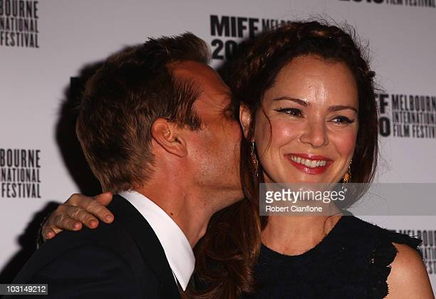 Jacinda Barrett arrives with her husband Gabriel Macht at the world premier of Matching Jack during the Melbourne International Film Festival at The...