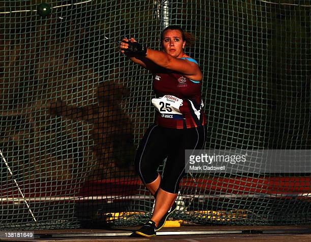 Jacinta Faint of QLD competes in the Womens Hammer Throw Open during the Briggs Athletics Classic at the Domain Athletics Track on February 4, 2012...
