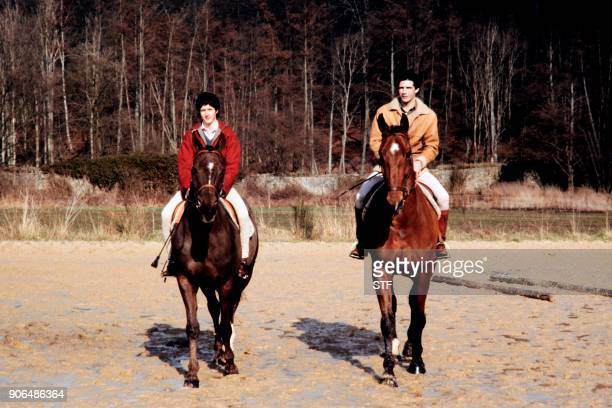 Jacinte Giscard D'Estaing and her fiance Philippe Guibout ride horses in an equestrian center the day of their engagement in Dampierre on March 17th...