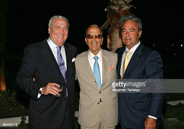 Jacinto Alvarez, Dr. Julio Iglesias Puga, Carlos Iglesias pose at Carlos Iglesias' 60th birthday celebration on April 30, 2005 at the Ocean Club in...