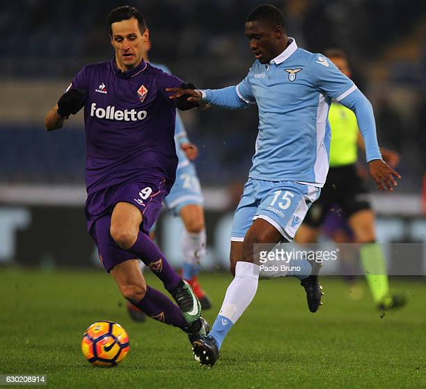 Jacinto Bastos of SS Lazio competes for the ball with Nikola Kalinic of ACF Fiorentina during the Serie A match between SS Lazio and ACF Fiorentina...