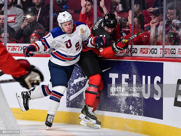 Jack Ahcan of Team United States checks Blake Speers of Team Canada during the 2017 IIHF World Junior Championship gold medal game at the Bell Centre...