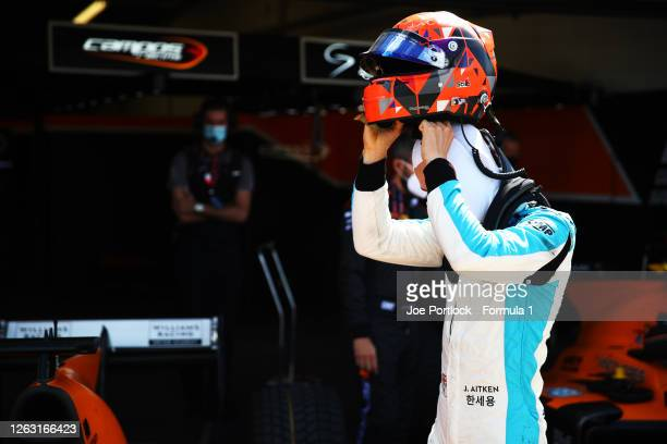 Jack Aitken of Great Britain and Campos Racing before the feature race for the Formula 2 Championship at Silverstone on August 01, 2020 in...