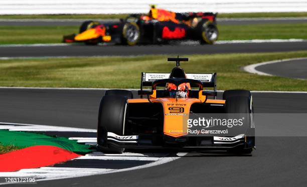Jack Aitken of Great Britain and Campos Racing drives on track during the feature race for the Formula 2 Championship at Silverstone on August 01,...
