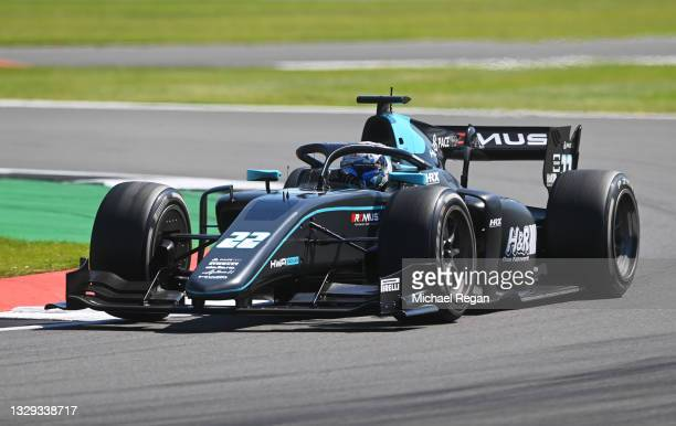 Jack Aitken of Great Britain and HWA Racelab drives during the Round 4:Silverstone feature race of the Formula 2 Championship at Silverstone on July...
