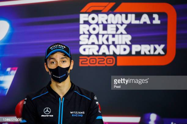 Jack Aitken of Great Britain and Williams talks in the Drivers Press Conference during previews ahead of the F1 Grand Prix of Sakhir at Bahrain...