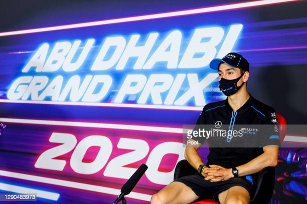 Jack Aitken of Great Britain and Williams talks in the Drivers Press Conference during previews ahead of the F1 Grand Prix of Abu Dhabi at Yas Marina...