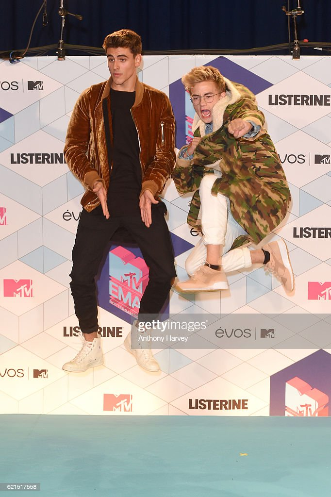 Jack and Jack pose in the winner's room during the MTV Europe Music Awards 2016 on November 6, 2016 in Rotterdam, Netherlands.