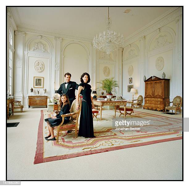 Jack and Kim Kilgore with their daughter India are photographed in the Ballroom for Town & Country Magazine on September 8, 2011 in Tuxedo Park, New...