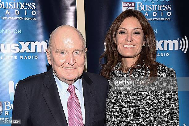 Jack and Suzy Welsh visit SiriusXM Business Radio at Wharton Business School April 17 2015 in Philadelphia Pennsylvania