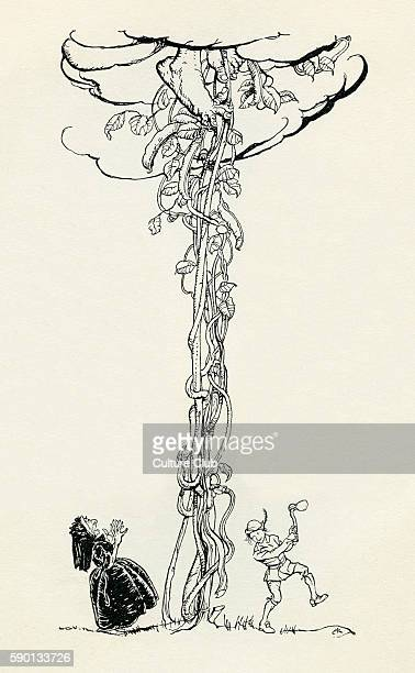 Jack and the Beanstalk English fairy tale Jack chops down the beanstalk as the ogre is climbing down after him Illustration by Arthur Rackham