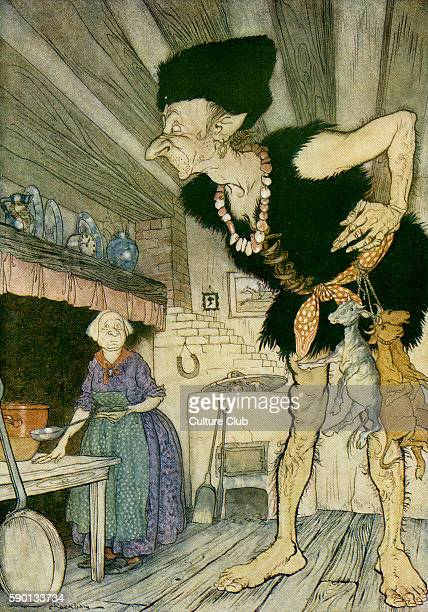 Jack and the Beanstalk, English fairy tale. Jack peeps into the ogre's kitchen and sees the ogre and his wife. Caption reads: 'Fee-fi-fo-fum, I smell...