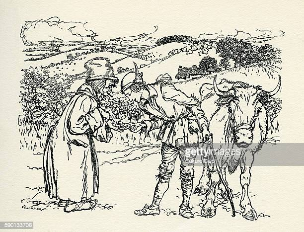 Jack and the Beanstalk English fairy tale Jack trades his cow MilkyWhite for a handful of beans Illustration by Arthur Rackham