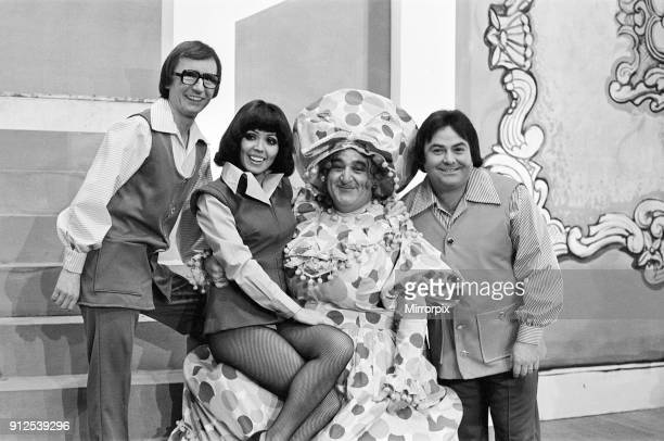 Jack and the Beanstalk Pantomime Photocall Grand Theatre Wolverhampton 18th December 1975 Comedy team Syd Little and Eddie Large Susan Maughan plays...