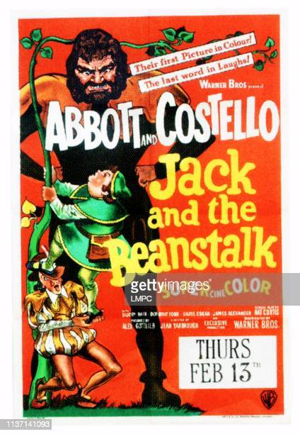 Jack And The Beanstalk poster left from top Lou Costello Bud Abbott right Buddy Baer on UK poster art 1952