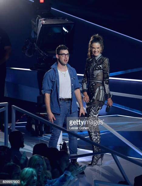 Jack Antonoff and Alessandra Ambrosio speak onstage during the 2017 MTV Video Music Awards at The Forum on August 27 2017 in Inglewood California
