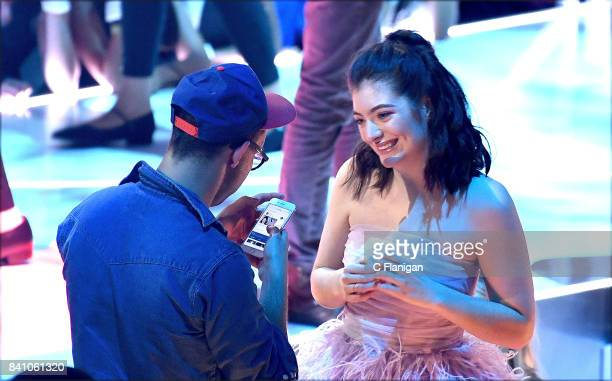 Jack Antonoff and Lorde are seen during the 2017 MTV Video Music Awards at The Forum on August 27, 2017 in Inglewood, California.