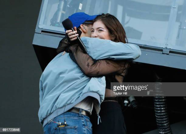 Jack Antonoff and Lorde speak onstage during 2017 Governors Ball Music Festival - Day 1 at Randall's Island on June 2, 2017 in New York City.
