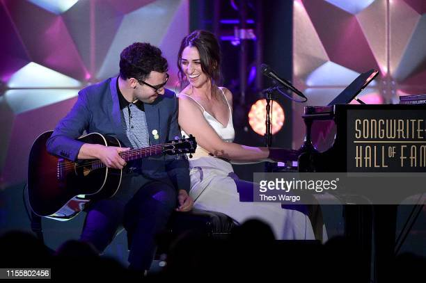 Jack Antonoff and Sara Bareilles perform onstage during the Songwriters Hall Of Fame 50th Annual Induction And Awards Dinner at The New York Marriott...